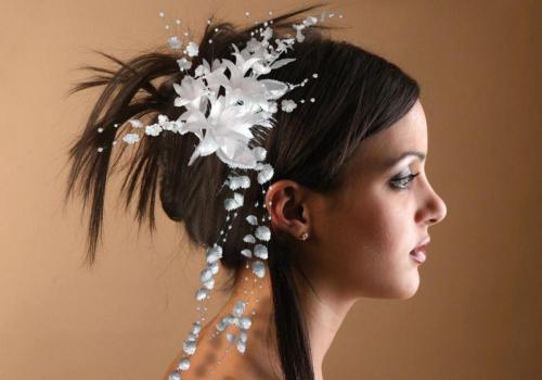 Headbands à fleurs blanche 3 pour la mariée